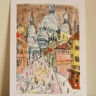 SACRE COEUR PARIS - Signed Giclée Print from original mixed-media painting