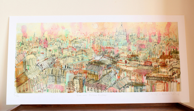 PARIS ROOFTOPS Signed limited edition Giclee print from mixed-media painting
