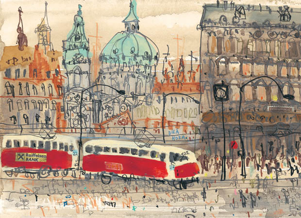 OLD TOWN PRAGUE CZECH REPUBLIC limited edition Giclee print from watercolour