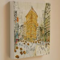 FLATIRON BUILDING NYC - New York Canvas Art Print from watercolour painting