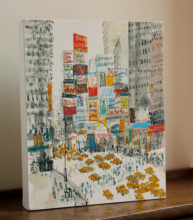 TIMES SQUARE NYC - New York Canvas Print from Watercolour Painting, New York Art