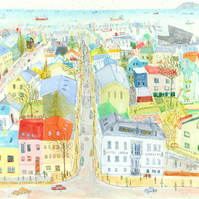 REYKJAVIK VIEW ICELAND  limited edition Giclee print from mixed-media painting
