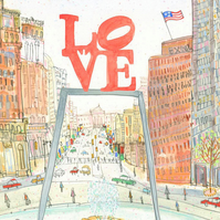 LOVE PARK Philadelphia - Philly - JFK Plaza - Love Sculpture - Signed Print
