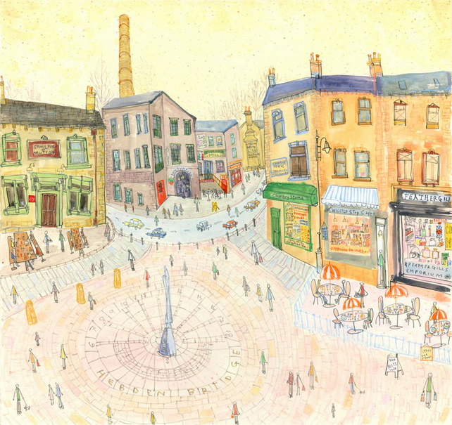ST. GEORGES SQUARE HEBDEN BRIDGE YORKSHIRE - Signed Limited Edition Giclee Print