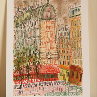 CAFE ROUGE PARIS -Signed Giclée Print from mixed-media painting, French Cafe Art