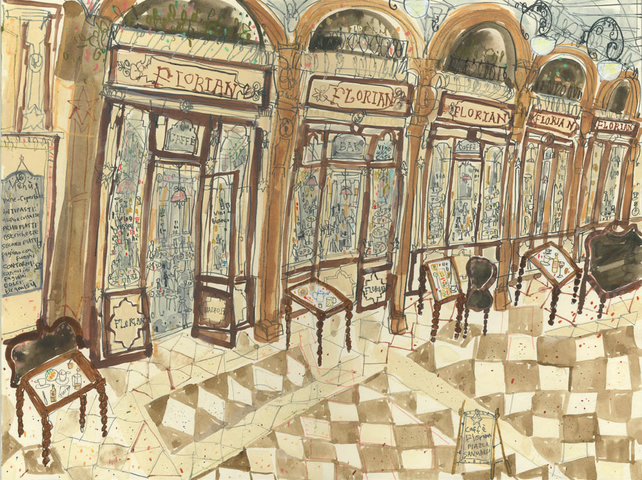 CAFE FLORIAN PIAZZA SAN MARCO VENICE - Original Painting by Clare Caulfield