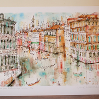 View from Rialto Bridge Venice - Limited edition Giclee print from watercolour