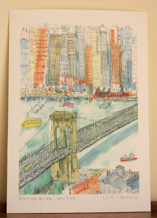 BROOKLYN BRIDGE NEW YORK -Signed NYC Giclee print by Clare Caulfield, Art Print
