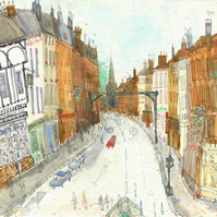ASHBOURNE PEAK DISTRICT-Derbyshire St John's Street - Limited Edition Giclee