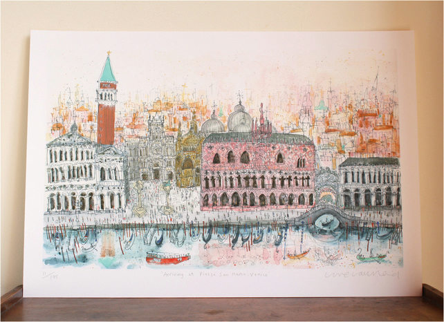 Arriving at Piazza San Marco Venice - Signed Limited Edition Giclee Print