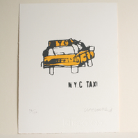 NYC TAXI,  Handmade Original New York Screenprint, Limited Edition Hand-pulled