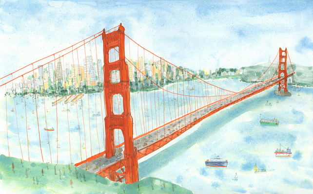 GOLDEN GATE BRIDGE San Francisco - Limited edition Giclee print from watercolour