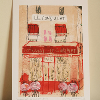 RESTAURANT LE CONSULAT PARIS - Signed Giclee Print from watercolour painting