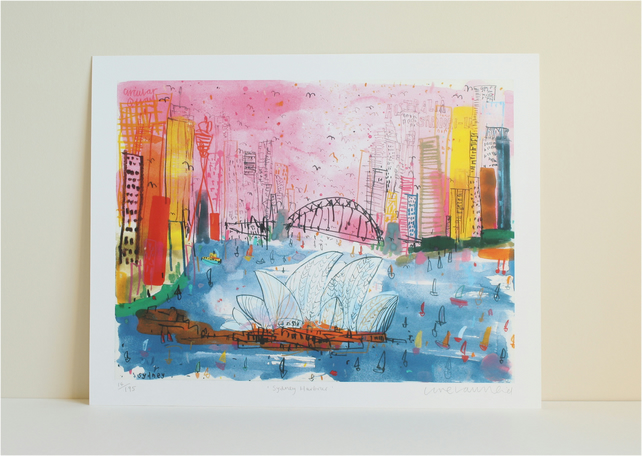 SYDNEY OPERA HOUSE - Sydney Harbour -Signed Ltd Giclée Print - mixed-media
