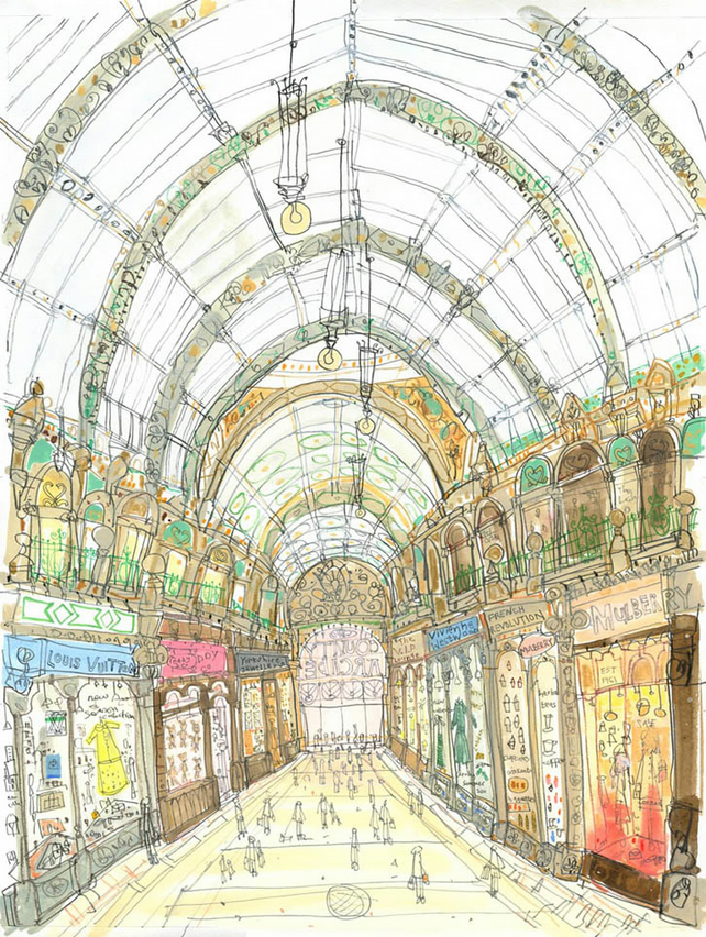 LEEDS SHOPPING ART PRINT, Yorkshire England, Signed Limited Edition Giclee
