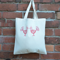 Two Small Folk Birds Tote Bag