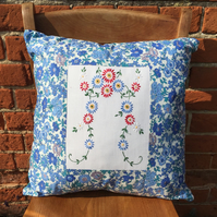 Blue Vintage Embroidery and Liberty Cushion Cover