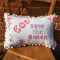 God Save the Queen Vintage Fabric Cushion Cover