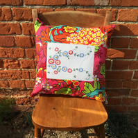 Pink Vintage Embroidery and Liberty Fabric Cushion Cover