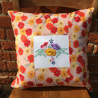 Floral Embroidered Vintage and Liberty Cushion Cover