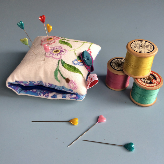 Vintage Embroidered Pincushion and Needlecase