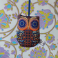 Handmade Mini Lavender Scented Owl. Hanging Decoration. Tangarine and Navy