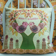 Personalised Wedding or Anniversary Gift Cushion. Love Birds. Choice of Colours