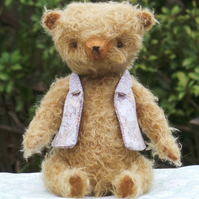 Ralph, 11 inch Handcrafted Artist Teddy Bear, Brown Mohair, One of a kind