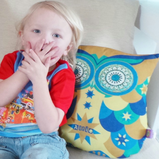 Personalised Large Toy Owl Softie Cushion. Green, Blue, Yellow. Stars
