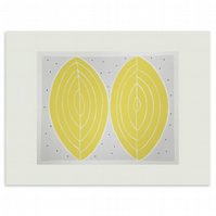 'Cowslip Seeds II', a simple handmade original screen print in yellow and grey