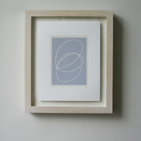 small abstract screenprint, handmade in soft blue-purple. Simple modern art