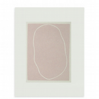 Small pink abstract screenprint, handpulled on lovely paper, simple modern art.
