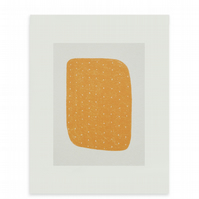 small minimal orange abstract screenprint, original & handmade by Emma Lawrenson