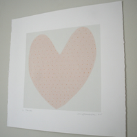 Love Heart screenprint in pastel pink with orange polka dots. Perfect gift idea