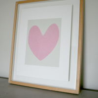 Love Heart screenprint. Original, handmade pretty gift idea by Emma Lawrenson
