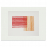Mid century inspired, geometric original abstract screenprint in pink red orange
