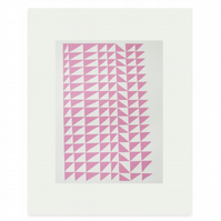 Scandinavian home, original handmade silkscreen print, pink geometric abstract