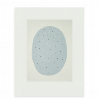 minimal art, original screenprint, small blue abstract 'egg' by Emma Lawrenson.