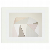Large original geometric art, handmade screenprint with pencil,  muted colours