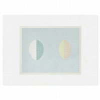 minimal abstract pastel blue original screenprint, Scandinavian home