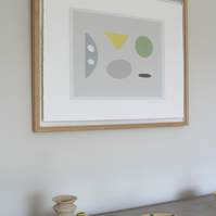 Original art, handmade, abstract limited edition screenprint in soft colours