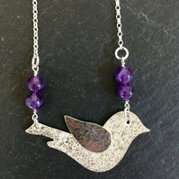Beautiful Silver and Bead Dove Bird necklace