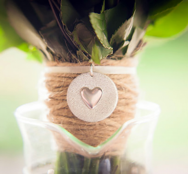 Silver Personalised Bouquet Charm with Heart