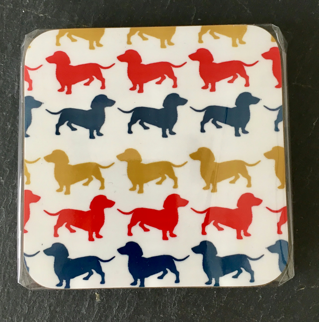 Set of 4 Dachshund Coasters on a white Background