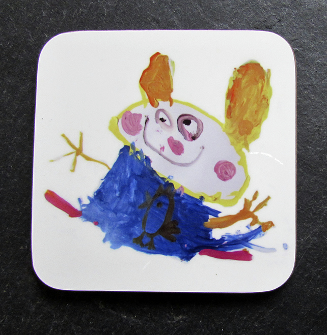 Set of 4 Childrens Drawings Coasters