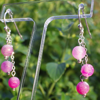 Three tier round frosted pink agate bead earrings with Sterling Silver