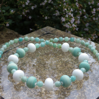 Minty lampwork glass bead necklace with faceted amazonite