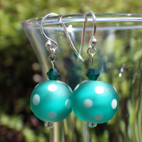 Emerald green dotty UK lampwork earrings with Swarovski crystals