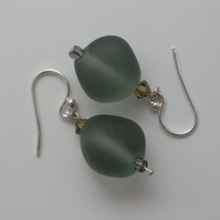 Frosted khaki coloured UK lampwork glass bead earrings