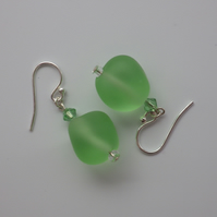 Frosted lime green UK lampwork glass bead earrings